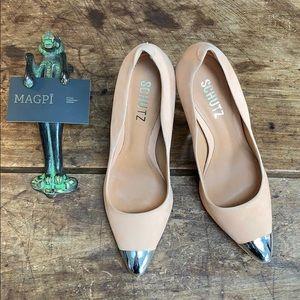 Schutz Leather Pump w/ Metallic Toe & Heel